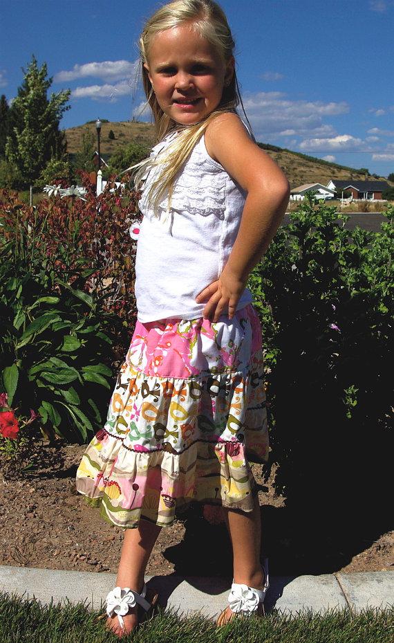 elastic waist ruffle girls skirt