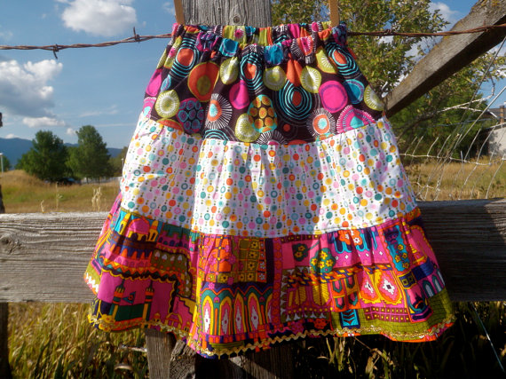 bright 3 tiered layered skirt