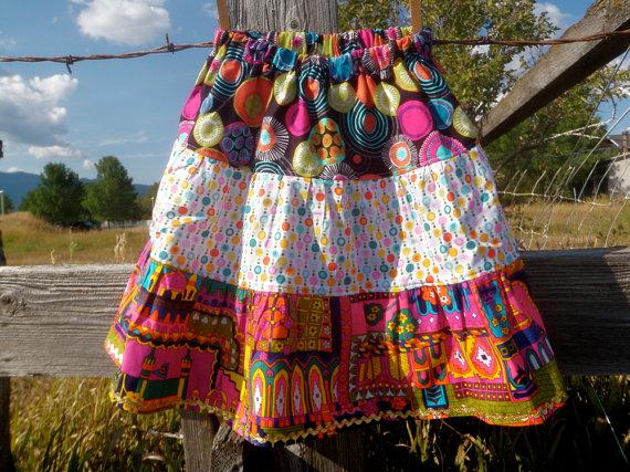 bright 3 tiered layered skirt