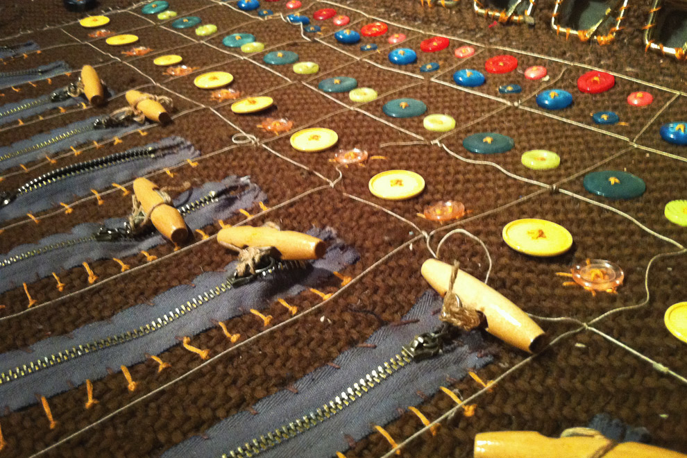 knitted sound mixing board, craftiest music video ever