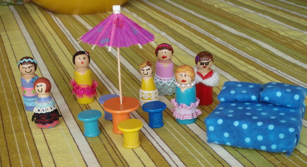 peg dolls in dresses