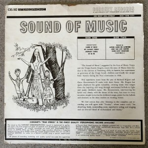 Sound of Music record cover backside