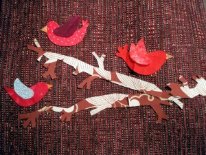 bird applique on handmade purse