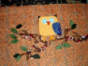 owl applique handmade purse
