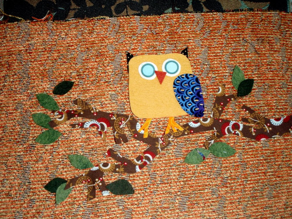 owl applique handmade purse