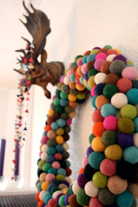 colorful felt balls wreath
