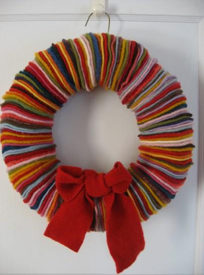 wool scraps wreath