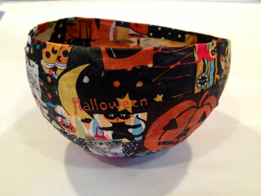 paper mache and fabric bowl