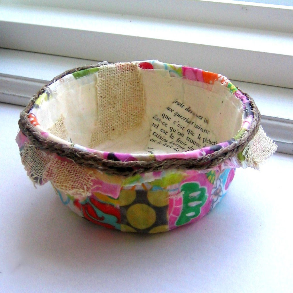 paper mache fabric bowl