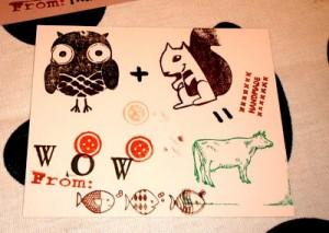 rubber stamped valentine card