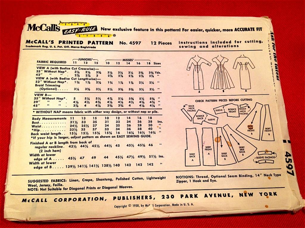 McCalls 1958 printed pattern 4597