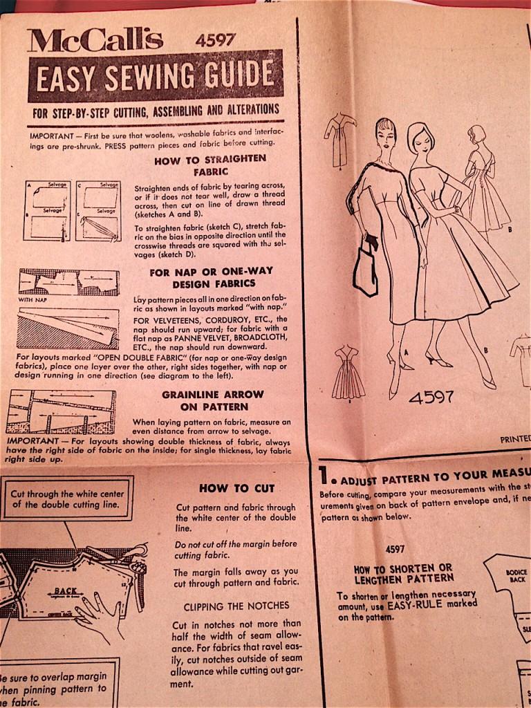 McCalls 1958 printed pattern