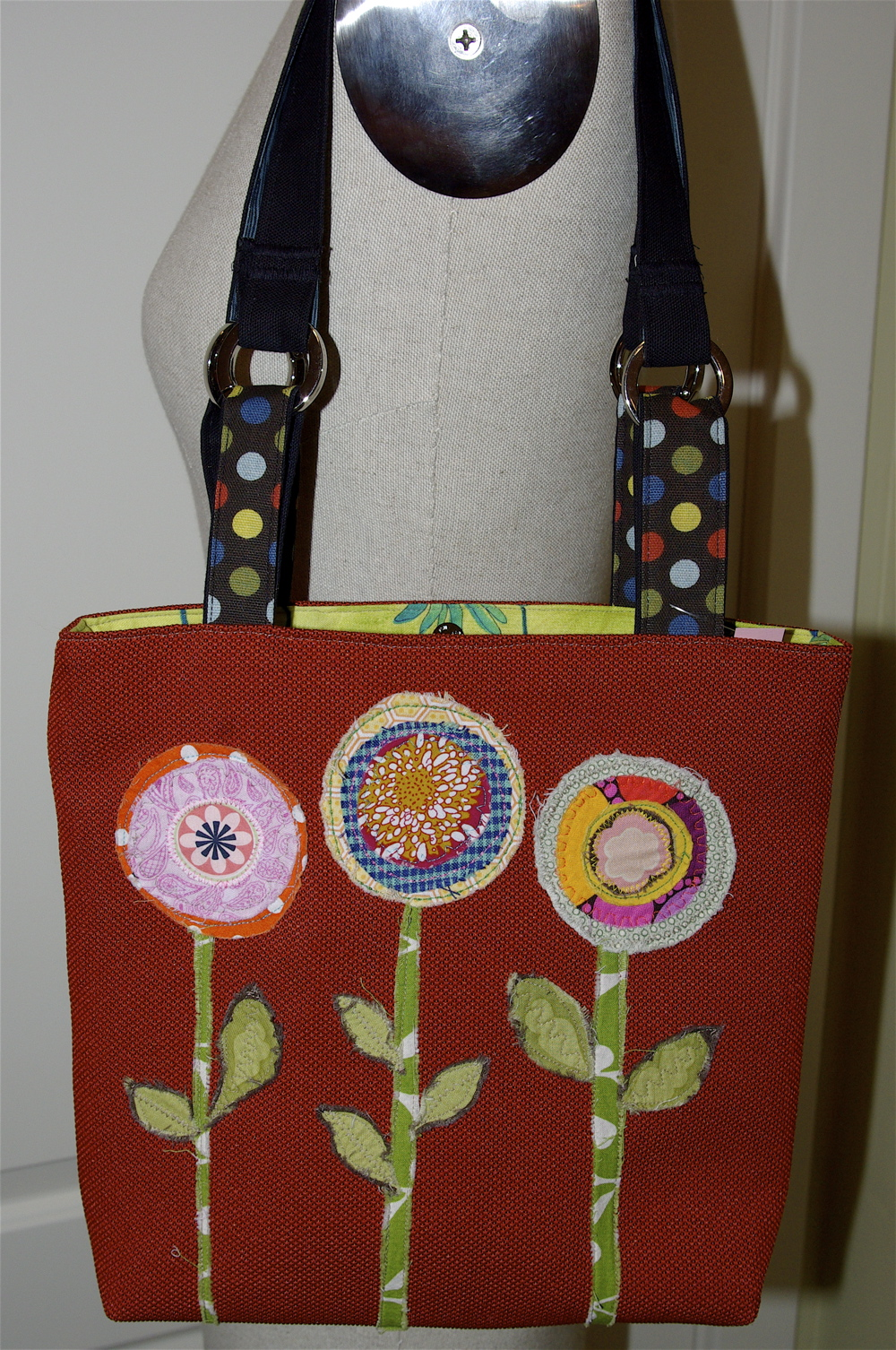 purse with fabric scrap details
