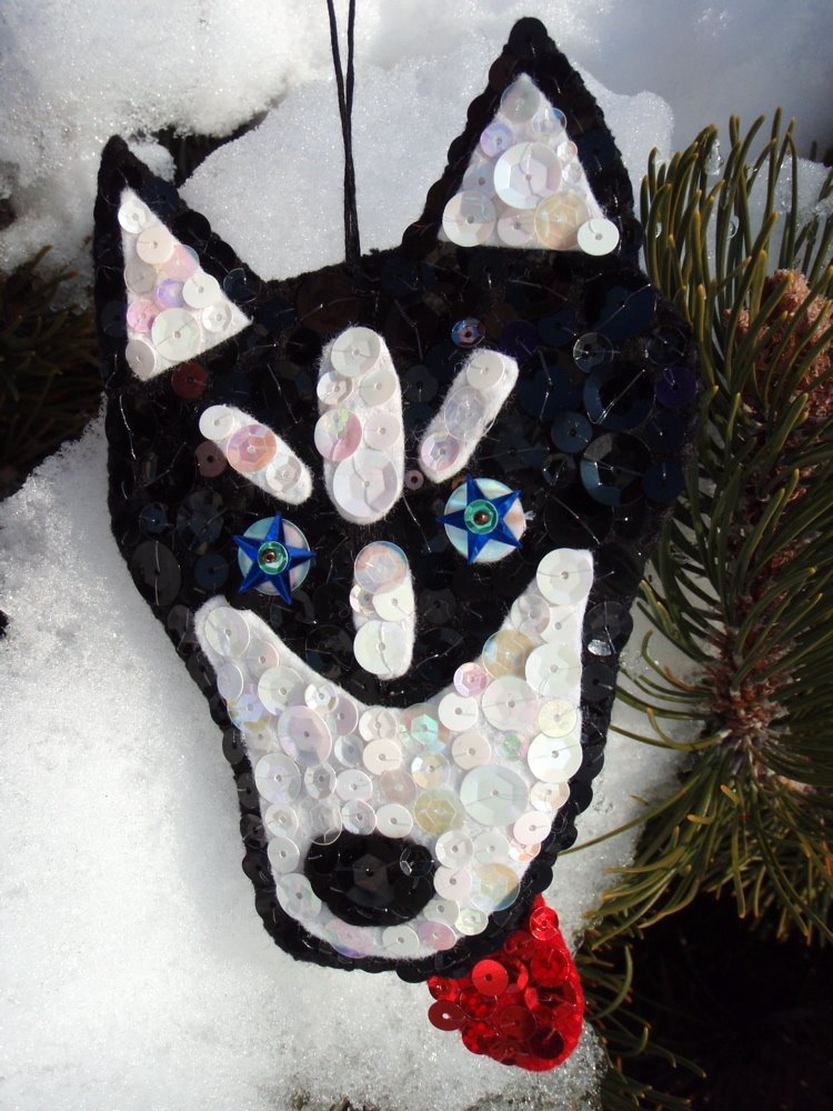 husky felt ornament