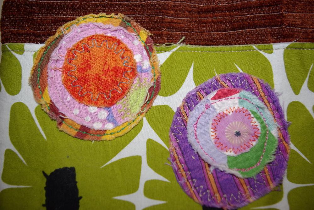 fabric scrap details on a bag