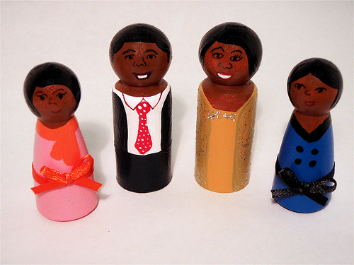 Obama family wooden peg dolls