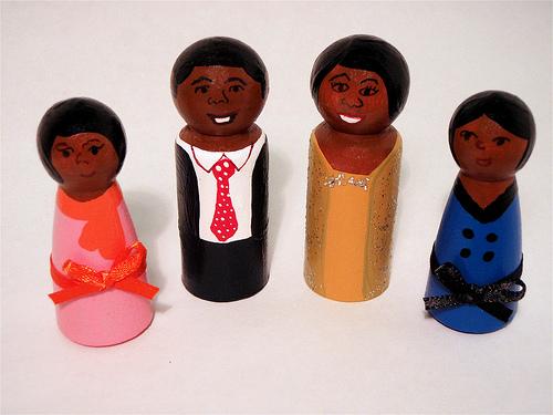 Obama family wooden peg dolls
