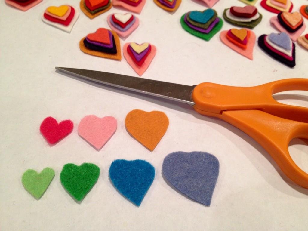 cutting felt hearts