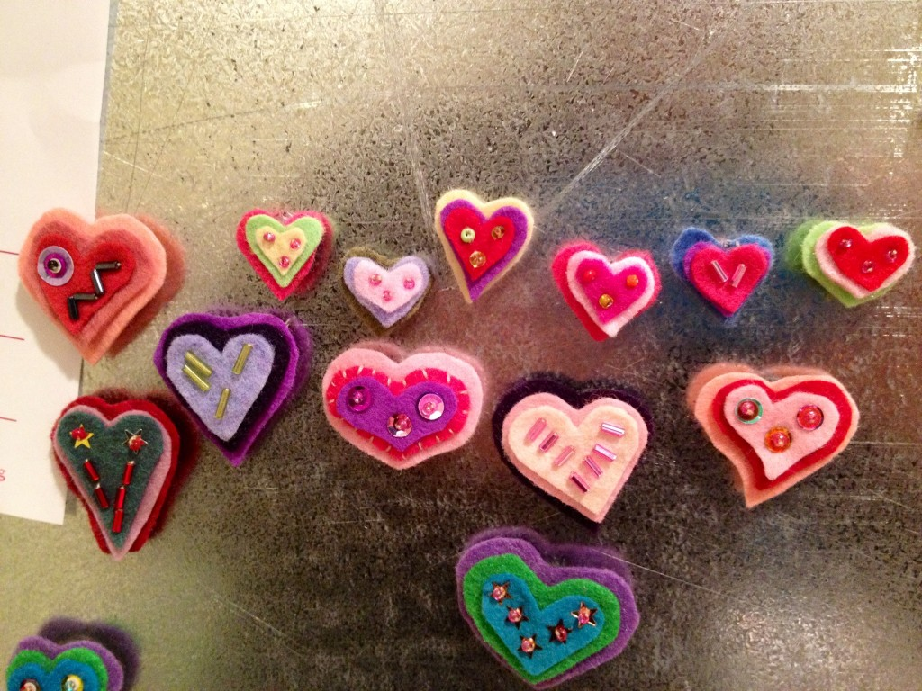 sequined felt magnets
