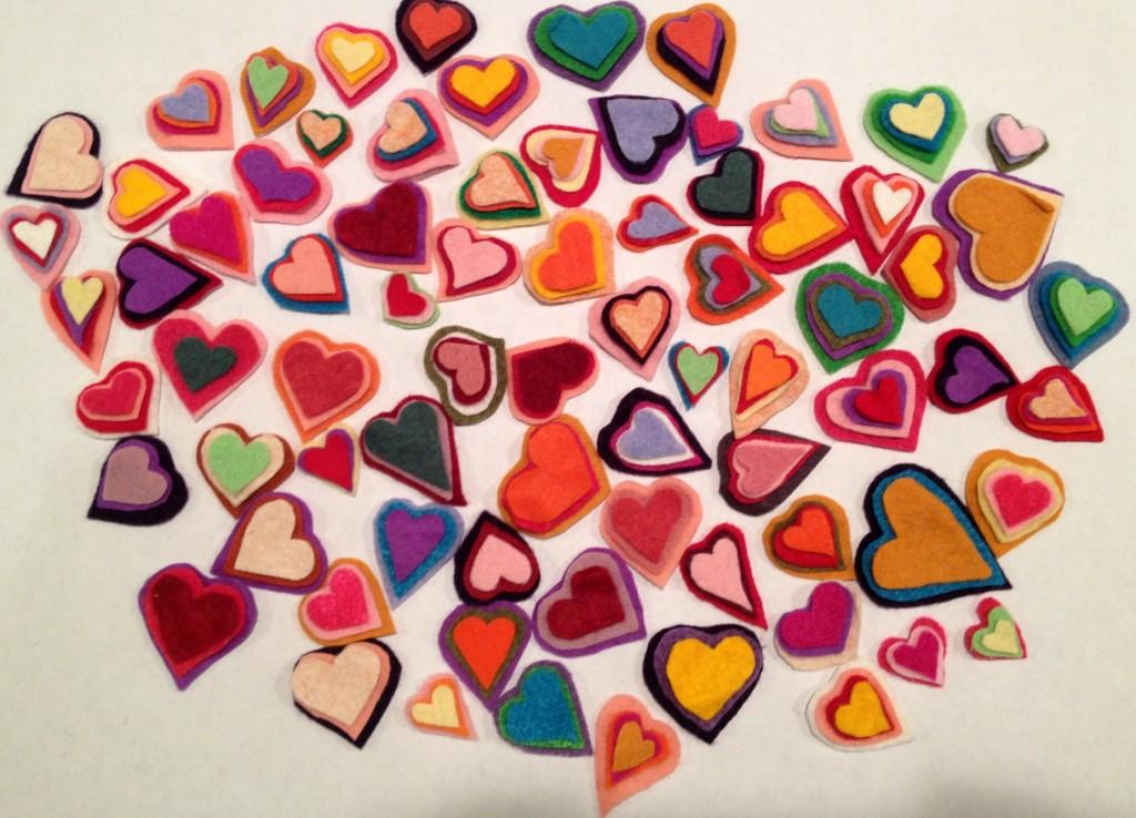 stacked felt hearts