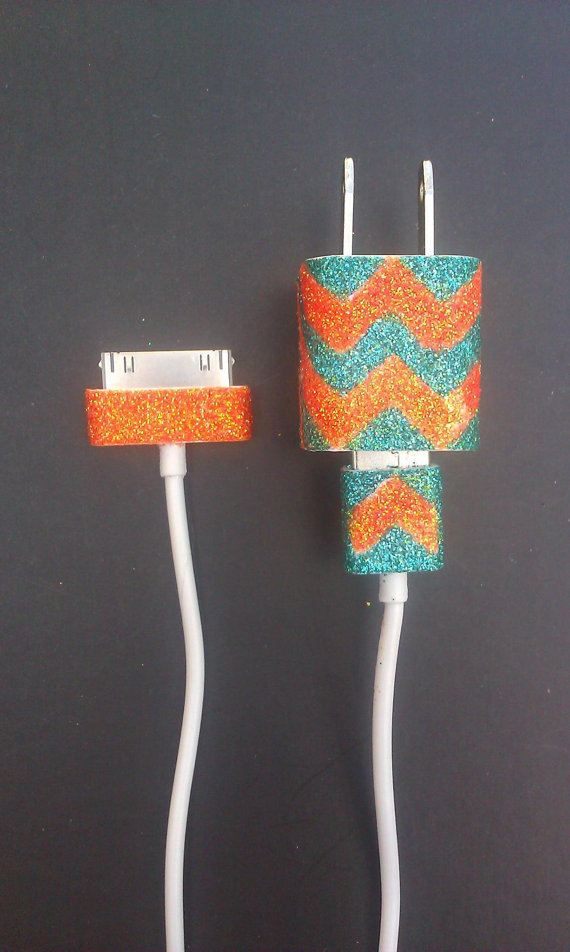 chevron glitter customized charger cord