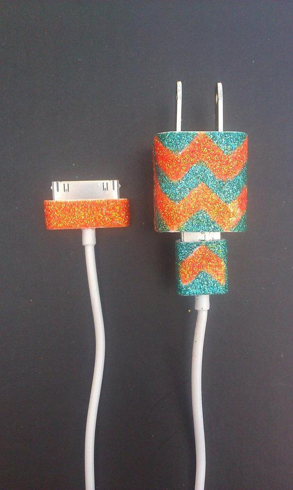 chevron glitter customized charger cord
