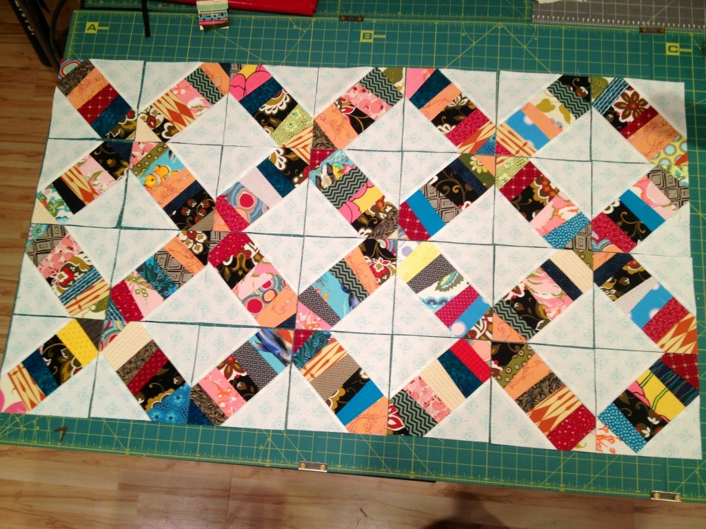 confetti quilt, foundation quilting