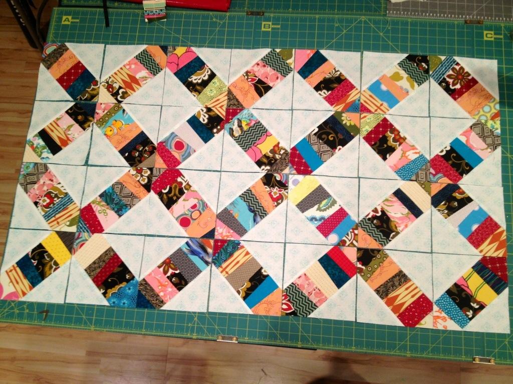 confetti quilt, foundation quilting