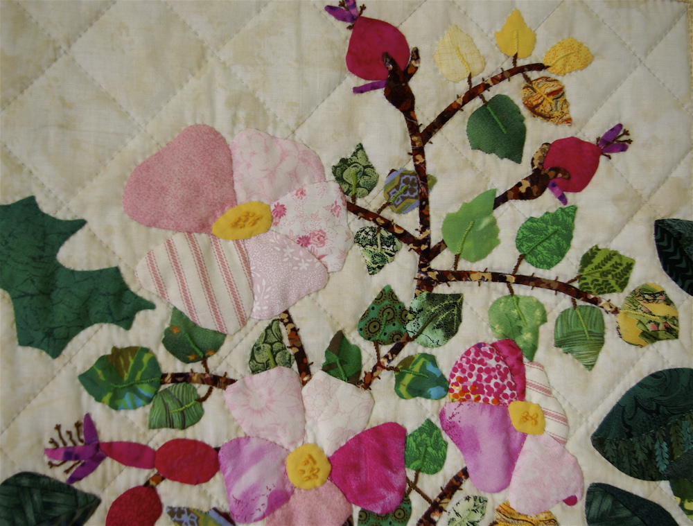hand appliqued wildflower quilt