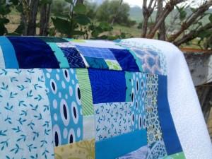 blue fabric scraps
