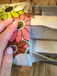 beginning where you started before, topstitch around, leave the opened area for last
