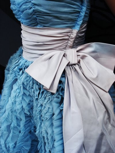 blue ruffle dress with bow