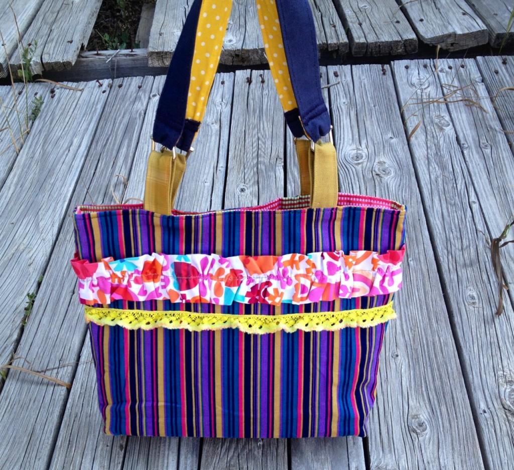 colorful ruffle purse