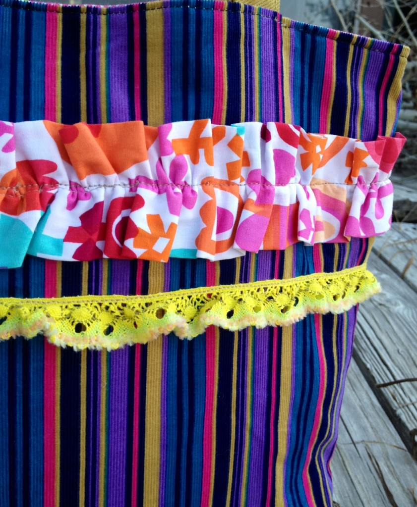 ruffle, lace, corduroy purse