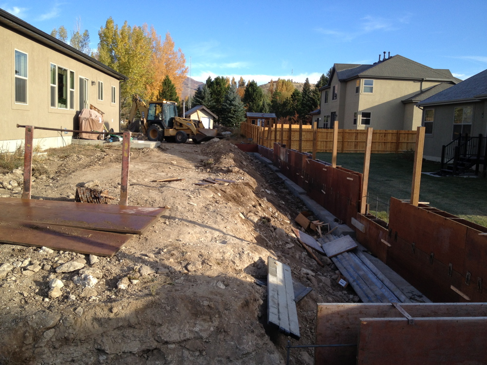 putting up the forms for a retaining wall