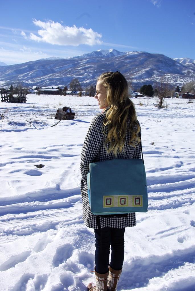 blue vinyl messenger bag