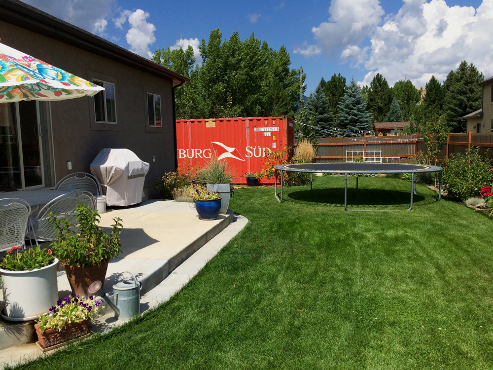 shipping container in backyard