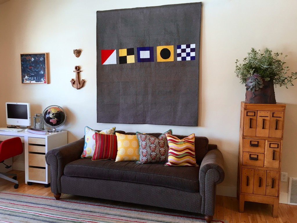 nautical flags on the wall