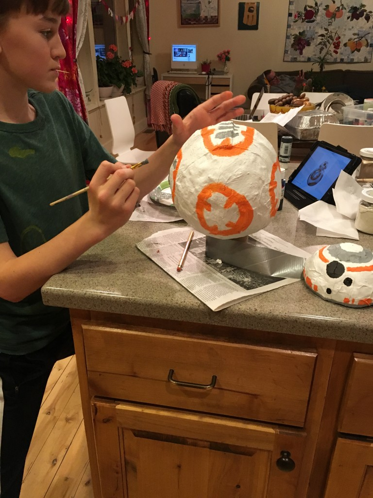 painting BB8 droid paper mache project