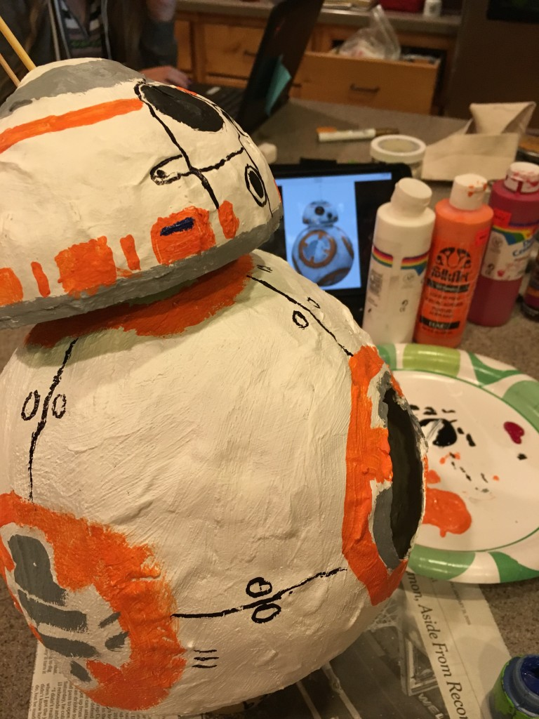 painting paper mache BB8 droid Star Wars