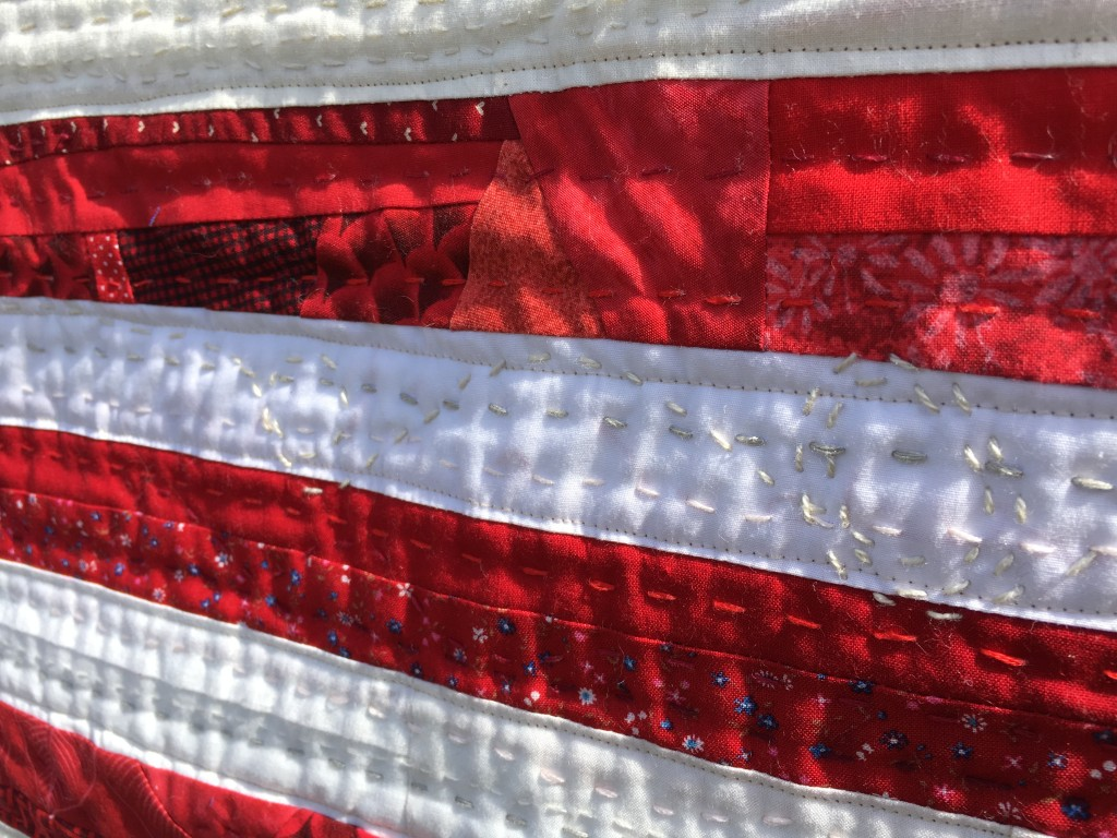 red and white top stitching