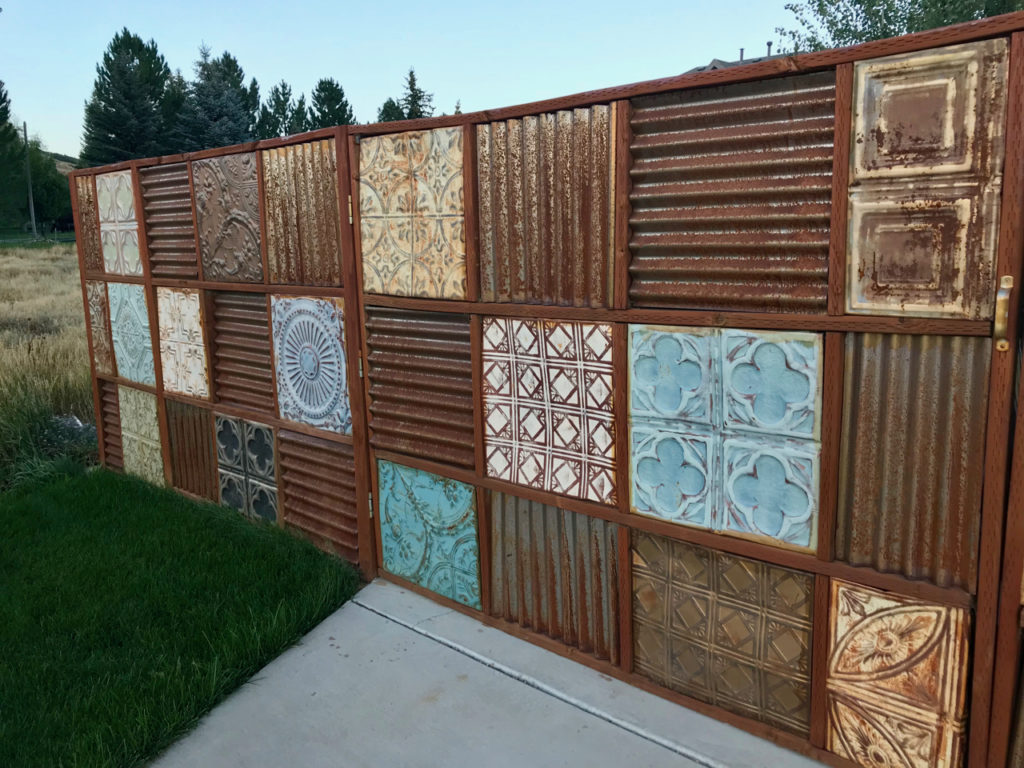 metal ceiling tile fence