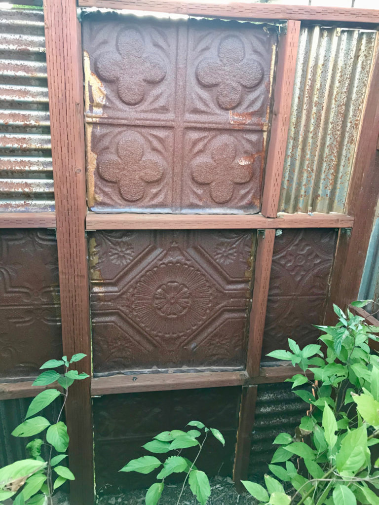 corrugated metal fence