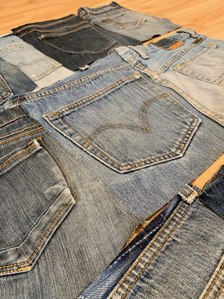 upcycled denim wall organizer