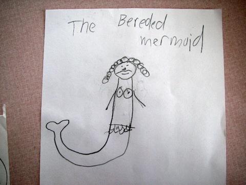 bearded mermaid funny kid drawing