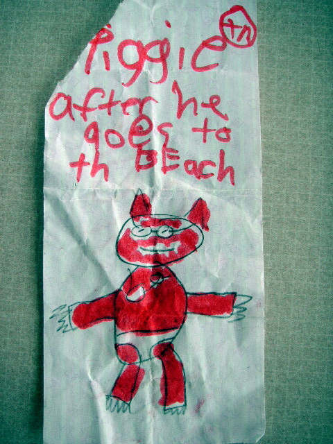 piggy goes to the beach funny kid drawing