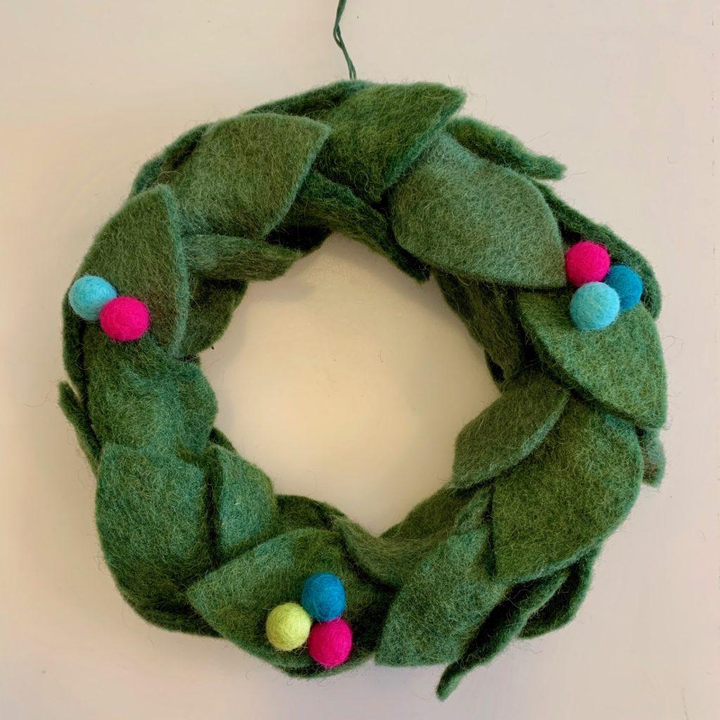 wool felt wreath tiny felt balls