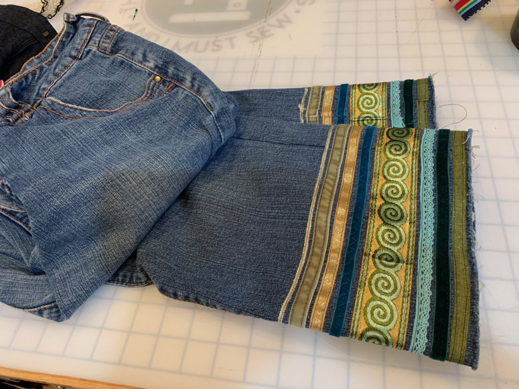 embellishing jeans DIY