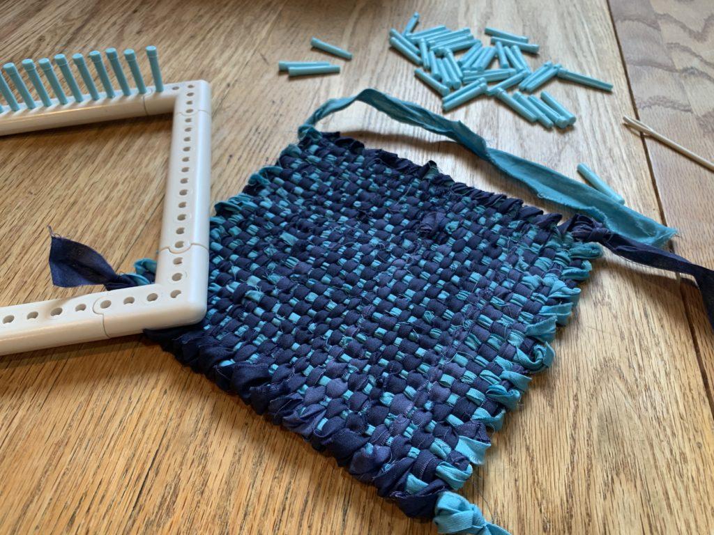 fabric scrap weaving project