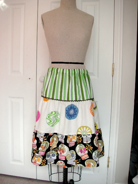 tiered skirt with day of the dead fabric